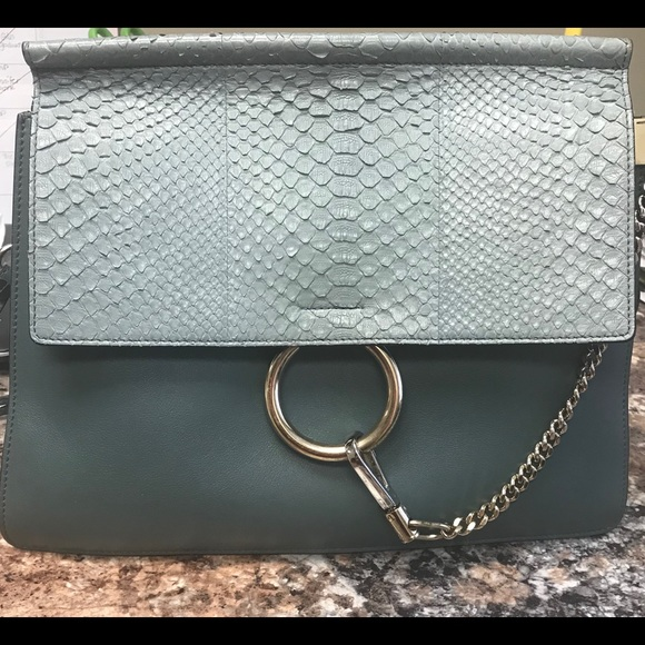 Chloe Handbags - Chloe Faye ice gray python flap blue leather bag